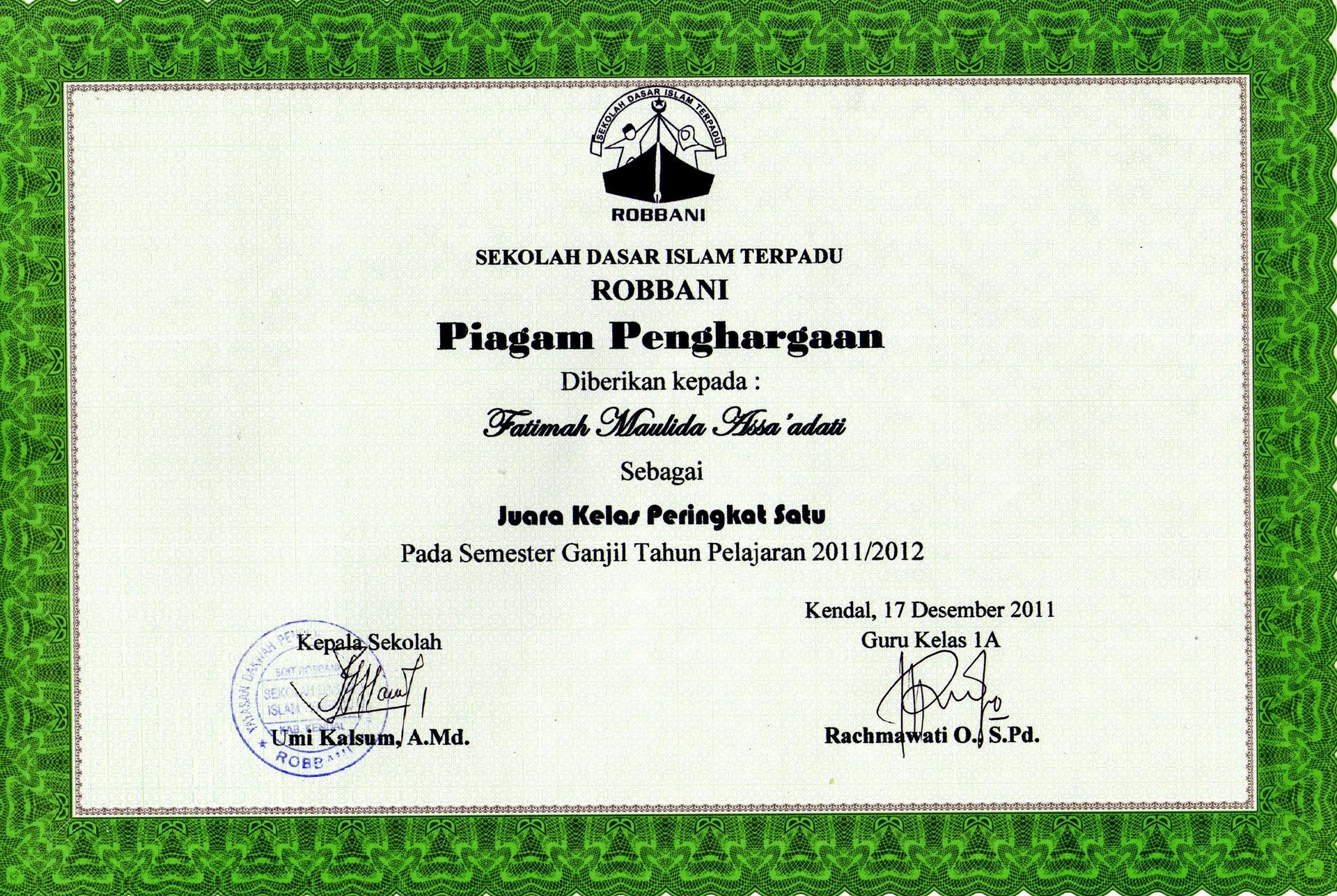 Piagam Penghargaan Juara Kelas Peringkat Satu Pada Semester Ganjil ...